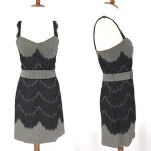 Forever 21 Sleeveless Dress Grey Tweed Black Lace